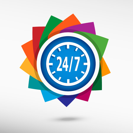 24 hours service sign. Flat design style Vector