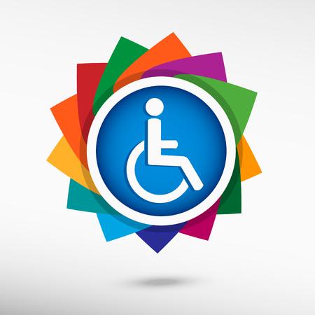 discapacidad: Icono de la desventaja minusv�lidos. Estilo de dise�o Flat Vectores