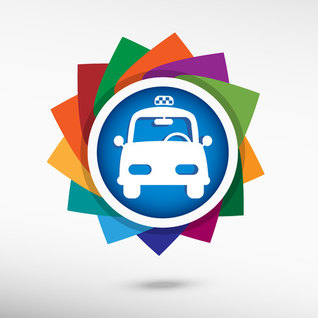 Taxi Icon. Flat design style Vector