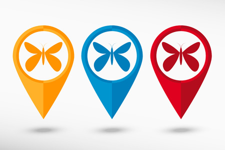 Butterfly map pointer, vector illustration. Flat design style Vector