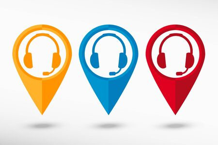 earpieces: Headset contact. Live help map pointer, vector illustration. Flat design style Illustration