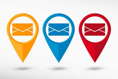message vector: Mensaje Mapa vectorial Icono puntero, ilustraci�n vectorial. Estilo de dise�o Flat