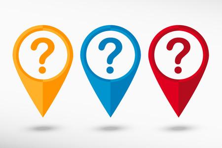 help symbol: Question mark. Help symbol on map pointer