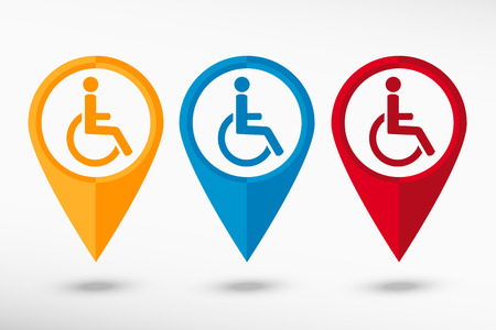 Disabled Handicap vector map pointer Vector