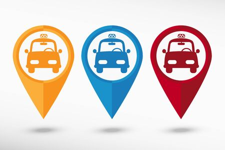 excursions: Taxi Icon map pointer, vector illustration. Flat design style Illustration