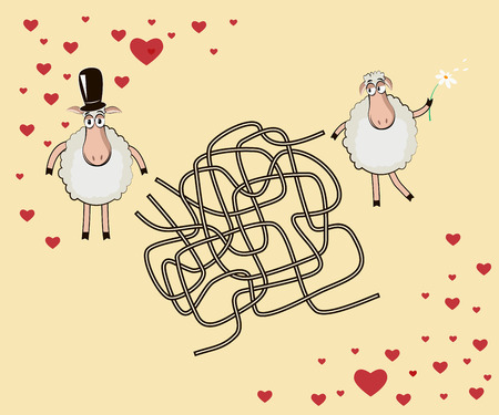 Romantic maze: Help the male lamb to find the way to the female Vector