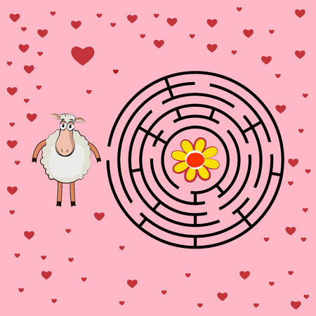 Help lamb through the maze illustration Vector