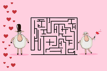 Romantic maze: Help the sheep to find the way to his sweetheart Vector