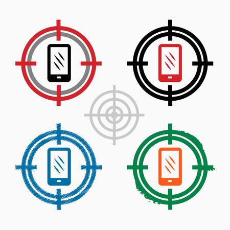 smart goals: Smartphone on target icons background.