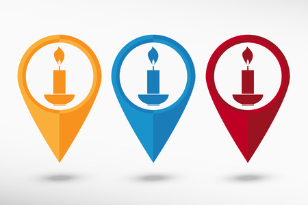 lighted: Candle icon map pointer Illustration
