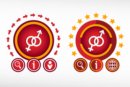 Male and female icon on creative background.  Vector