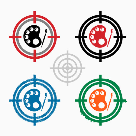 Palette icon on target icons background. Vector