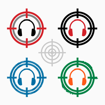 earpieces: Headphones icon on target icons background.