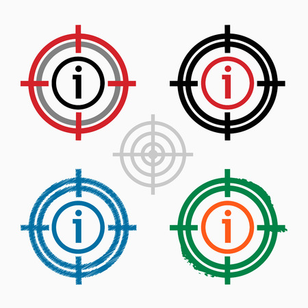 Information sign on target icons background.