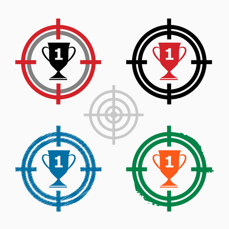 Champions Cup on target icons background. Crosshair icon. Vector illustration. Vector