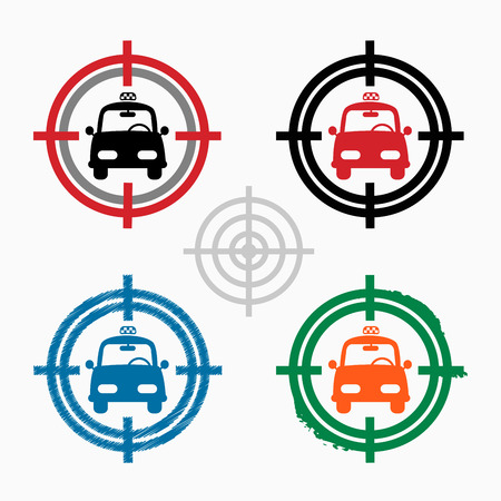 Taxi Icon on target icons background. Crosshair icon. Vector illustration. Vector