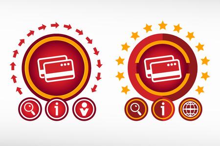financial position: Bank credit cards sign and creative design elements. Red design concept Illustration