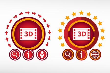 cinematografico: Icono del cine en 3D y elementos de dise�o creativos. Concepto de dise�o de Red