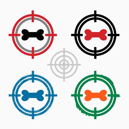 seal gun: Dog bone sign icon on target icons background. Crosshair icon. Vector illustration. Illustration