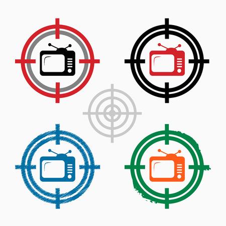 televisor: Televisor on target icons background. Crosshair icon. Vector illustration.