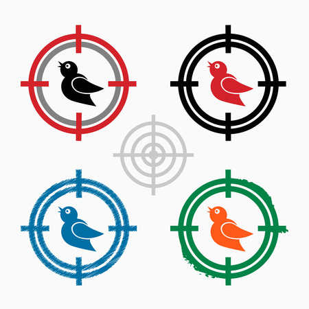 Bird Icon on target icons background. Crosshair icon. Vector illustration Vector