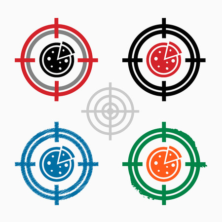cross bar: Pizza on target icons background. Crosshair icon. Vector illustration