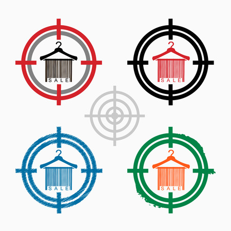 clotheshanger: Sale barcode clothes hanger on target icons background. Crosshair icon. Vector illustration.
