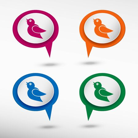 chat bubbles: Bird Icon on colorful chat speech bubbles