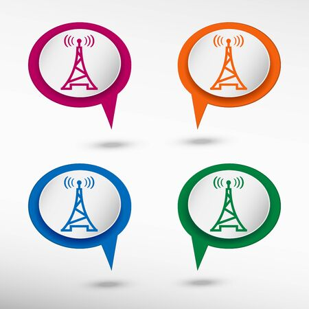transmitter: Transmitter icon on colorful chat speech bubbles