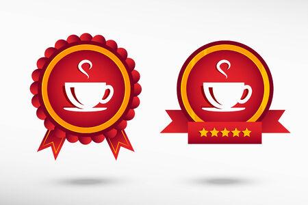 coffee cup icon: Coffee cup icon stylish quality guarantee badges