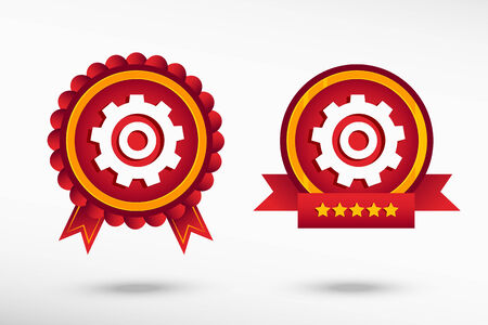 quality guarantee: Gears on stylish quality guarantee badges Illustration