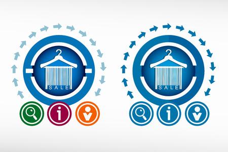 clotheshanger: Sale barcode clothes hanger icon and creative design elements. Flat design concept.