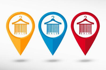 clotheshanger: Sale barcode clothes hanger map pointer, vector illustration. Flat design style