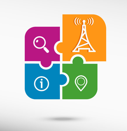 transmitter: Transmitter icon on colorful jigsaw puzzle