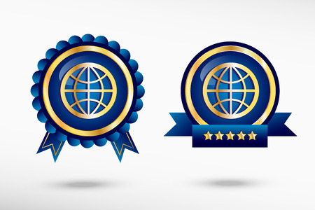 quality guarantee: Globe stylish quality guarantee badges. Blue colorful promotional labels