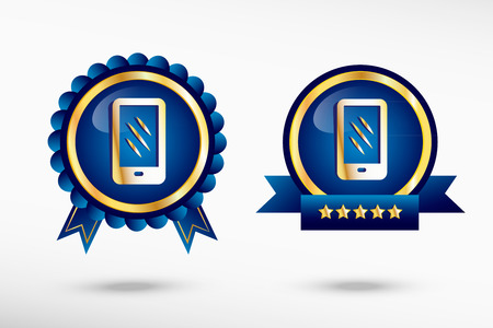 Smartphone stylish quality guarantee badges. Blue colorful Promotional Labels Vector