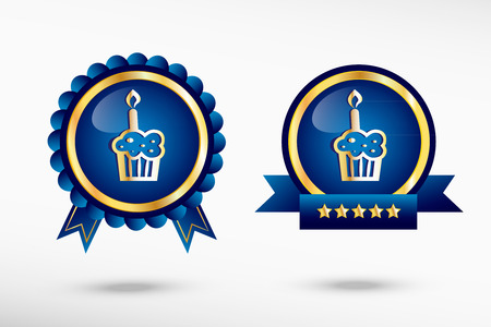 Pictograph of cake stylish quality guarantee badges. Blue colorful Promotional Labels Vector