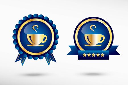 Coffee cup icon stylish quality guarantee badges. Blue colorful promotional labels Vector