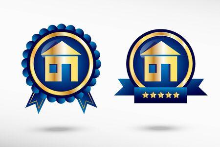 Casa firmar insignias de garantía de calidad con estilo. Etiquetas promocionales de colores azules