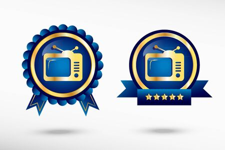 telecast: Television stylish quality guarantee badges. Blue colorful promotional labels