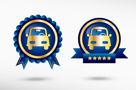 Car stylish quality guarantee badges. Blue colorful promotional labels Vector