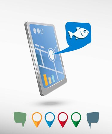 Fish and perspective smartphone vector realistic. Set of bright map pointers for printing, website, presentation element and application mockup. Vector