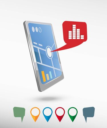 soundwave: Soundwave music icon and perspective smartphone vector realistic. Set of bright map pointers for printing, website, presentation element and application mockup. Illustration