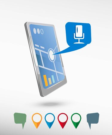 Microphone multimedia signs and perspective smartphone vector realistic. Set of bright map pointers for printing, website, presentation element and application mockup. Vector