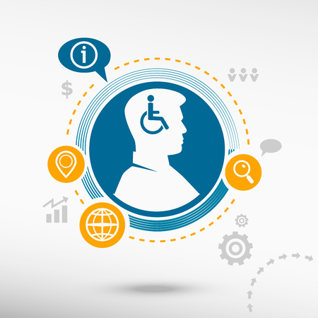Disabled Handicap icon and male avatar profile picture. Flat design vector illustration concept for reaching goals.