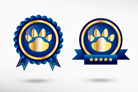 quality guarantee: Paw stylish quality guarantee badges. Blue colorful promotional labels