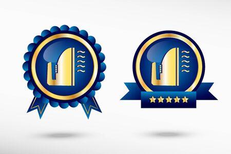 smoothing: Smoothing icon stylish quality guarantee badges. Blue colorful promotional labels Illustration