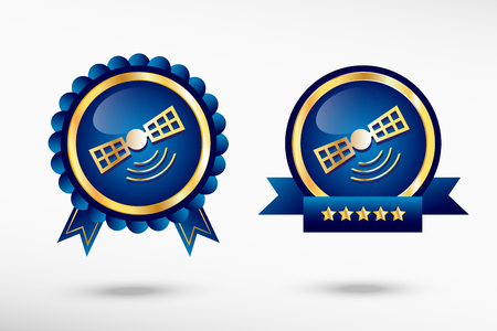 Satellite icon stylish quality guarantee badges. Blue colorful promotional labels Vector