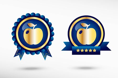 quality guarantee: Apple Icon stylish quality guarantee badges. Blue colorful promotional labels