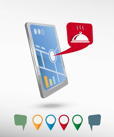 Restaurant cloche icon and perspective smartphone vector realistic. Set of bright map pointers for printing, website, presentation element and application mockup. Vector